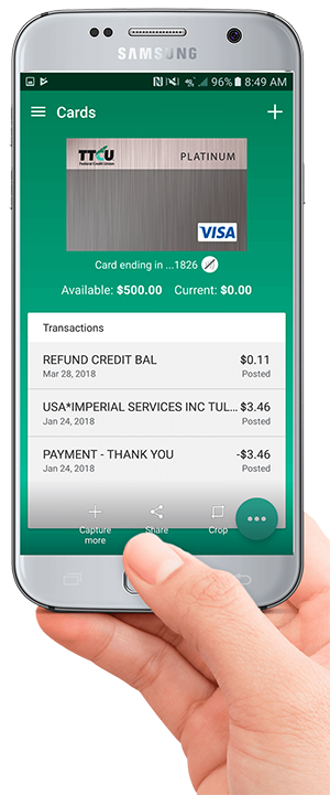 with fingerprint id and onoff card controls our new credit card app is easy to use safe and secure its a convenient way to stay connected to your ttcu - Visa Credit Card App